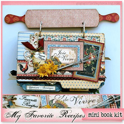 my favorite recipes mini album book scrapbook kit with instructions by gogogirlscrapbooking.com scrapclubs.com scrap kit clubs