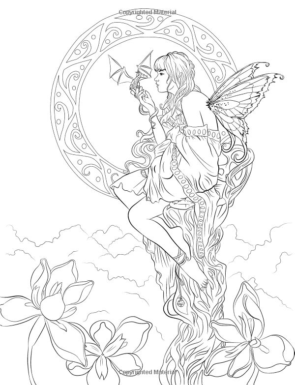 Artist Selina Fenech Fantasy Myth Mythical Mystical Legend Elf Elves Dragon Dragons Fairy Fae Wings Fairies Mermaids Mermaid Siren Sword Sorcery Magic Witch Wizard Coloring pages colouring adult detailed advanced printable Kleuren voor volwassenen coloriage pour adulte anti-stress kleurplaat voor volwassenen Line Art Black and White Fairy Companions