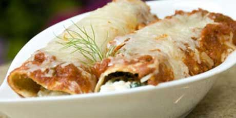 Spinach and Cheese Cannelloni with Roasted Tomato Sauce