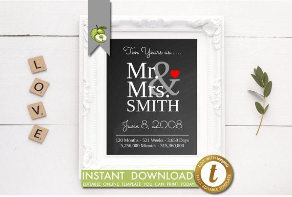 10th Wedding Anniversary Gift For Husband Or Wife Editable Etsy 10th Wedding Anniversary Gift Custom Wedding Gifts Anniversary Gifts For Husband