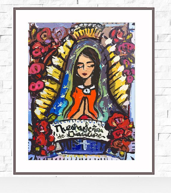 Notre Dame de Guadalupe Print, joli, portrait de roses, Nuestra Señora de Guadalupe-Bright