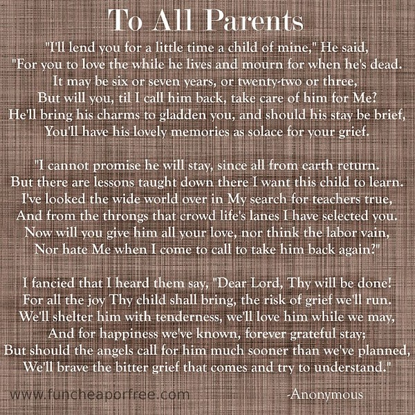 Losing A Father To Cancer Quotes: The Most Beautiful Poem About Losing A Child. Brings So