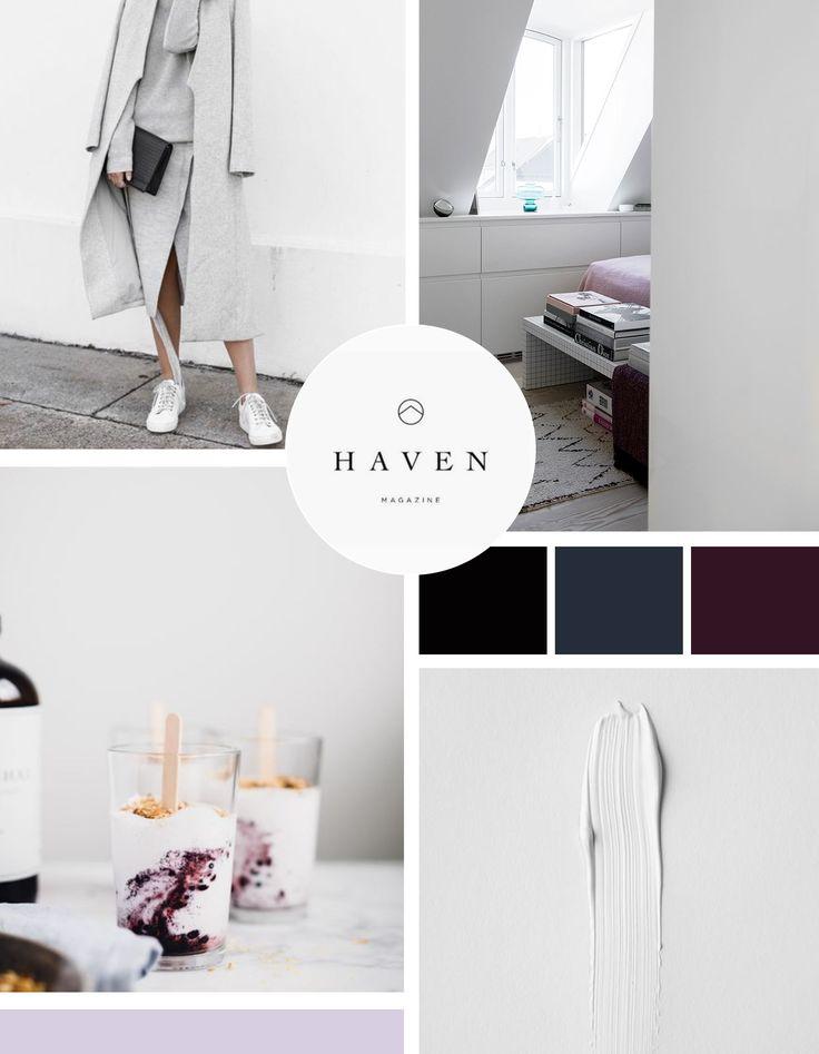 Moodboard design with grey tones, burgundy, navy and a pop of lavender. Designed by Savannah Peer, Lead Brand Designer at Infinite Reach Media.