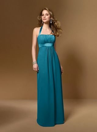 Teal bridesmaids dress - halterneck and sash - elegant