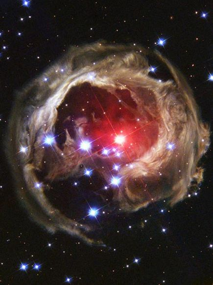 V838 Monocerotis. A red variable star in the constellation Monoceros about 20,000 light years from the Sun.