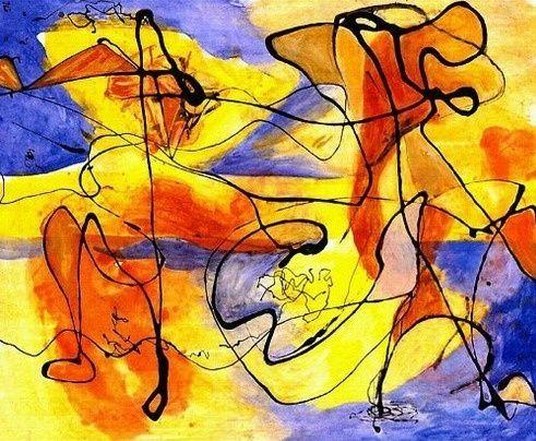 Jackson Pollock: Black Pouring Over Colour, c1952