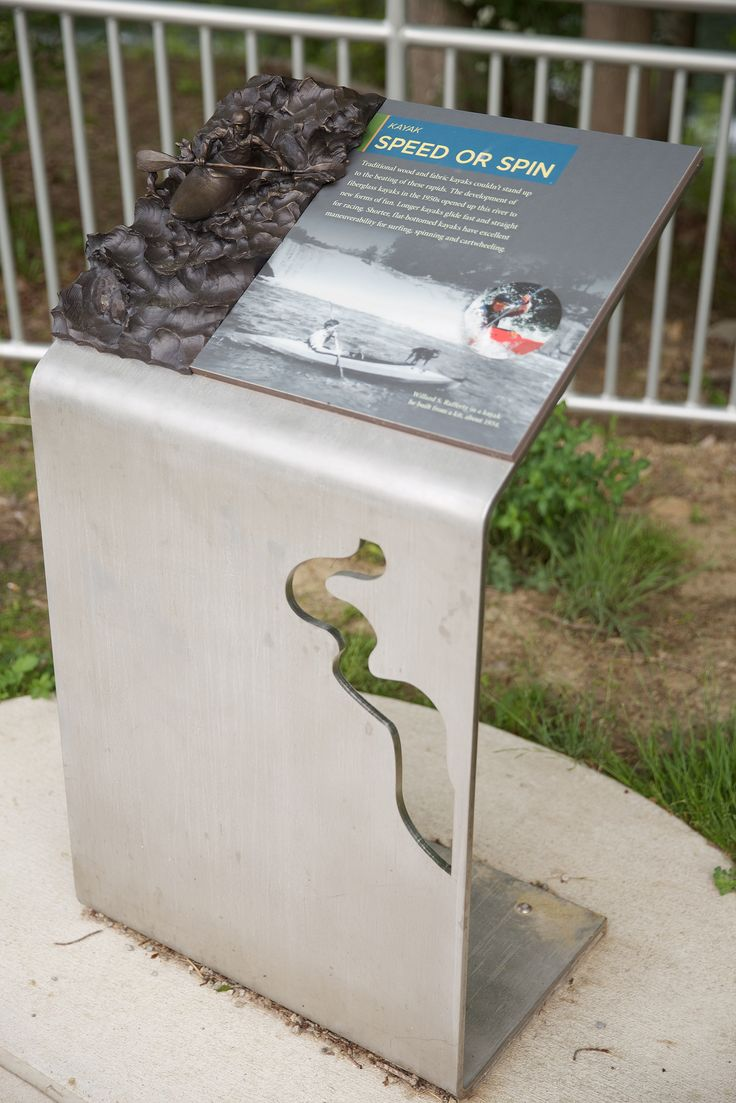 Ohiopyle State Park, outdoor wayfinding signage and interpretive bronze sculpture | Blue Rhino Studio