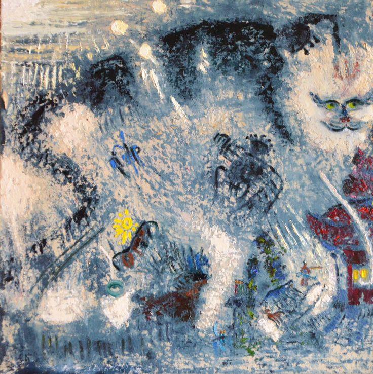 """Мейнкун защищает свет в восточном доме"", картина написана методом интуитивной живописи, автор Елена Поданева, холст. масло. 2016г. текст описания картины и детали: https://www.facebook.com/photo.php?fbid=1745430032438712&set=pcb.1745432742438441&type=3&theater"