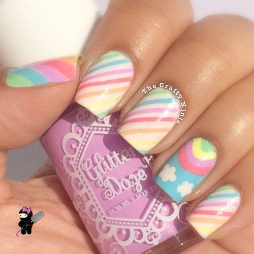 Striping Tape Nail Art Tutorial: Rainbow Nail Art Tutorial Http://www.thecraftyninja.com