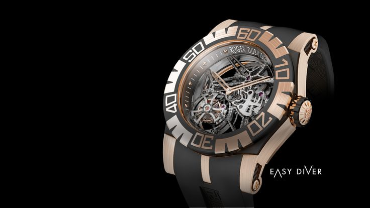 """EasyDiver. Roger Dubuis. """"The EasyDiver collection is defined by its potent, athletic looks and its technical acumen.  An extraordinary haute timepiece built to withstand demanding outdoor conditions, EasyDiver is one of the first in horological history to incorporate a flying tourbillon into a sports watch.  Each casing can resist pressure of up around 300 meters, and has a specially-designed movement - a miniature engine tuned to the most precise engineering standards and mechanical tests."""
