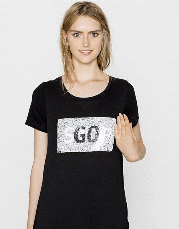 Pull&Bear - donna - magliette - maglietta paillette stop go - nero - 09246360-I2016