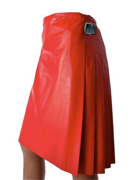 Voguish Multiple Pleated Leather Kilt