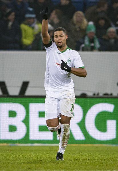 Serge Gnabry of Bremen celebrates the first goal for his team during the Bundesliga match between TSG 1899 Hoffenheim and Werder Bremen at Wirsol Rhein-Neckar-Arena on December 21, 2016 in Sinsheim, Germany.