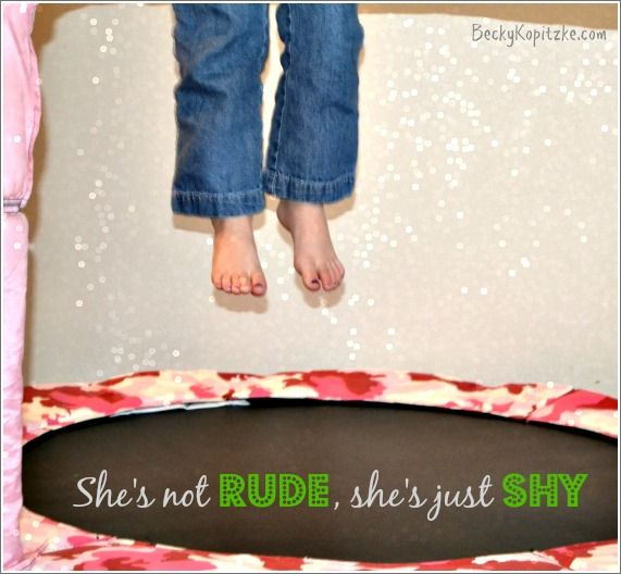 She's not rude, she's just shy: A devotion about giving other people the benefit of the doubt.
