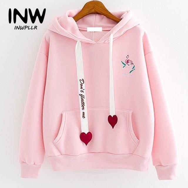 Women Hoodies Fashion Casual - 2019 Autumn Spring Hoodies Sweatshirts Women  Hoody Flamingo Em... | Hoodies womens, Sweatshirts women, Kawaii fashion  outfits