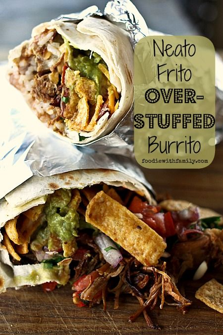 Neato Frito Overstuffed Burrito with pulled pork, guacamole, refried beans, rice, Fritos, cheese, Ranch dressing, and barbecue sauce.
