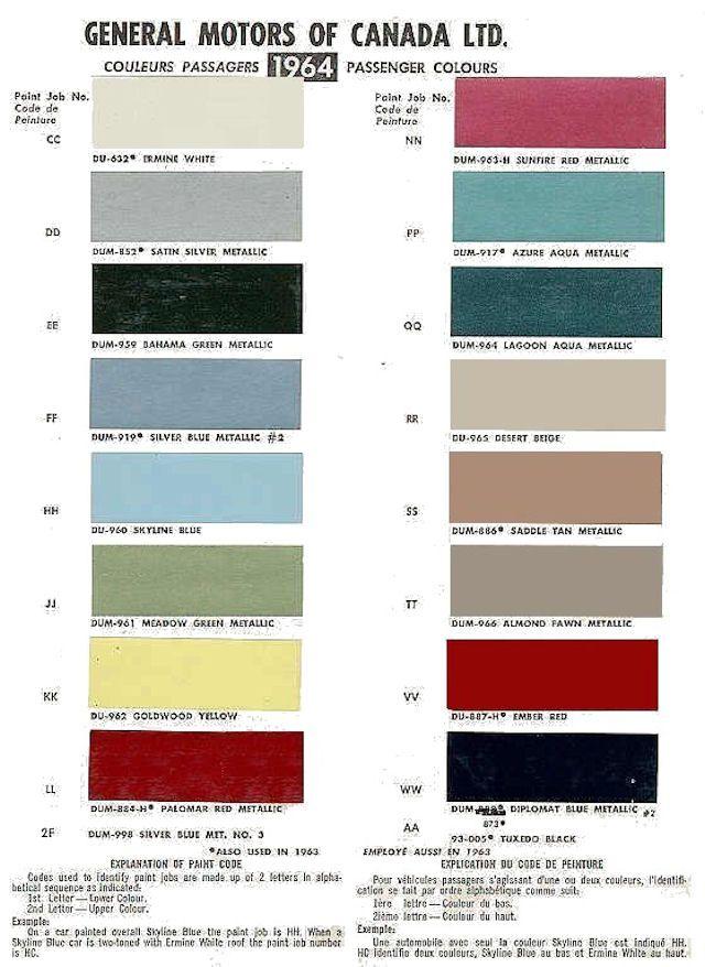 Auto Paint Codes 1964 Chevelle Exterior Paint Codes Canada Paint Chart