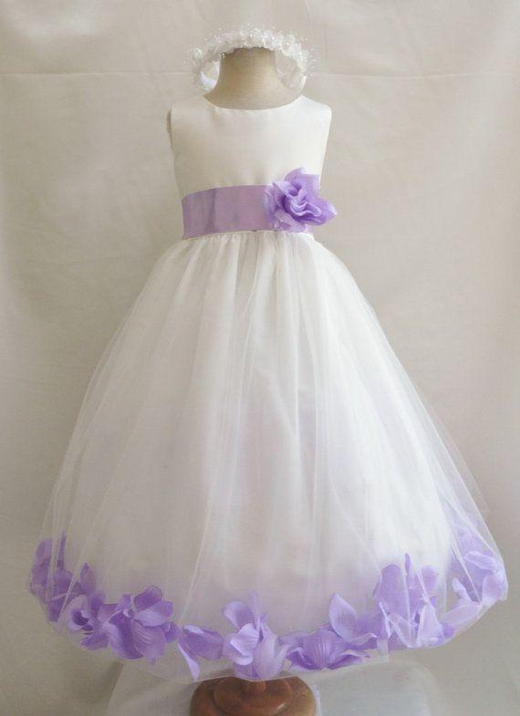 Flower Girl Dress Ivory Lilac Petal Wedding Children