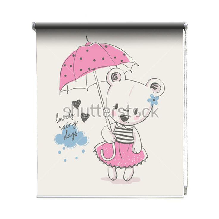 Rolgordijn Paraplu beer | De rolgordijnen van YouPri zijn iets heel bijzonders! Maak keuze uit een verduisterend of een lichtdoorlatend rolgordijn. Inclusief ophangmechanisme voor wand of plafond! #rolgordijn #gordijn #lichtdoorlatend #verduisterend #goedkoop #voordelig #polyester #paraplu #beer #beren #beertje #meisje #roze #schattig #lief #babykamer #baby #meisjeskamer #meidenkamer