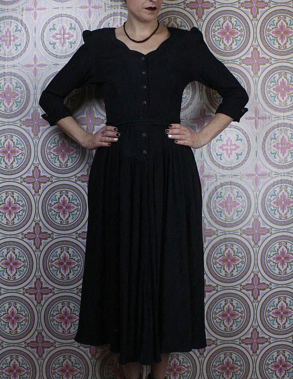 Vintage gothic dress in my Etsy shop https://www.etsy.com/ca/listing/582922904/80s-gothic-black-coat-dress-long-mid