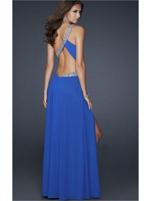 A-line/Stile Principessa Cristallo Increspato Floor-length Monospalla Raso Elastico Dress