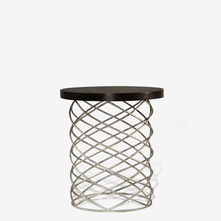 Porta Romana - CST35, Whirl Side Table - Decayed Silver with Dark Fumed Oak Top