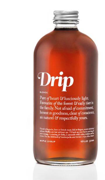 Drip Maple syrup—stunningly simple web and package design