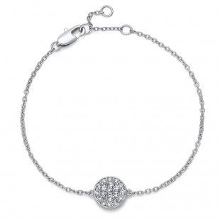 Oliver Weber Women pin style round circle rhodium bracelet with Swarovski Crystals
