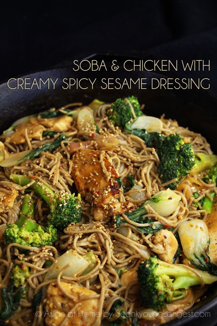 Soba and Chicken with Creamy Spicy Sesame Dressing - Asian at Home