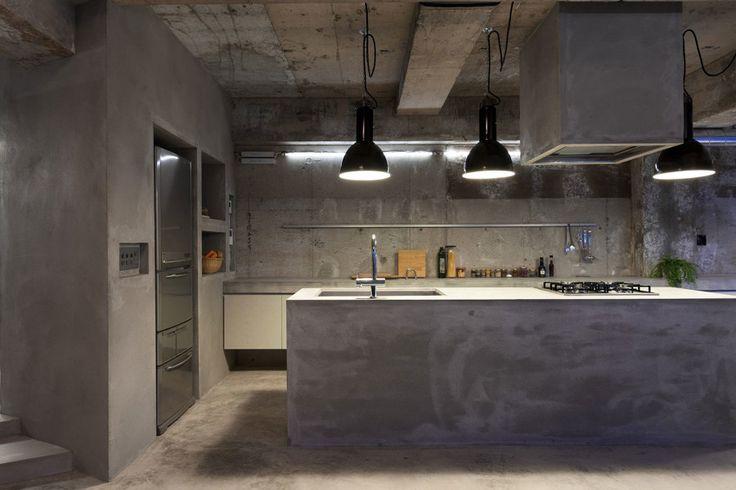 concreto na cozinha