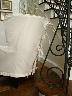 chair cover...need to do this with my plaid wingback chair and ottomon but in a different color