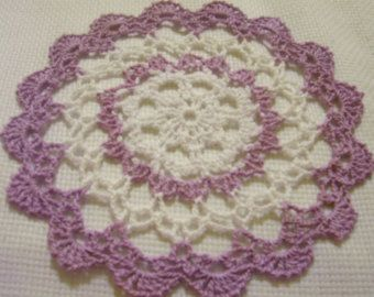 crocheted oval doily wood violet/purple/lavender and white