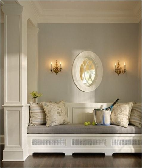 built in bench: Decor, Ideas, Built Ins, Wall Color, Builtin, Built In Benches, Reading Nooks, House, Window Seats