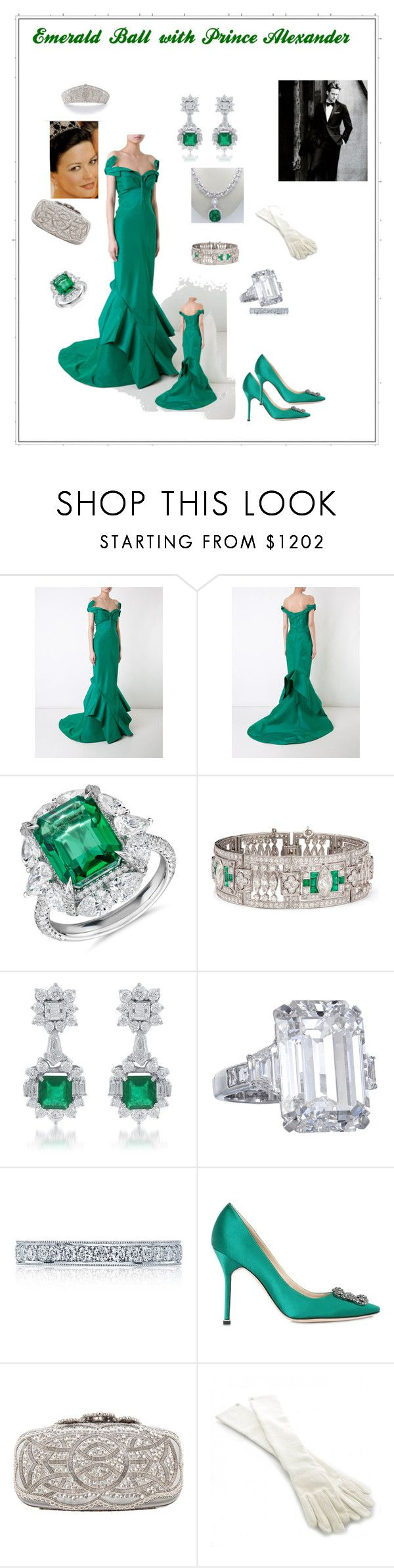 """""""Emerald Ball with Prince Alex"""" by hshprincessgebevieve ❤ liked on Polyvore featuring Zac Posen, Blue Nile, Tacori, Manolo Blahnik, Oscar de la Renta, Chanel, contest, GREEN and GreenDress"""