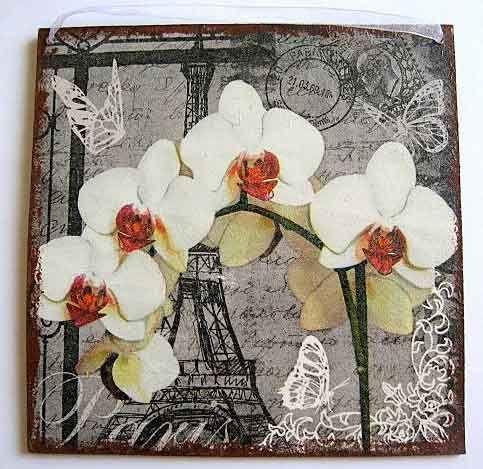 #Tablou cu #orhidee si alte #ornamente #stilizate, tablou de #lemn cu un #fundal cu turnul #Eiffel din #Paris sub #forma de #carte #postala http://handmade.luxdesign28.ro/produs/tablou-cu-orhidee-si-alte-ornamente-stilizate-tablou-de-lemn-22382/