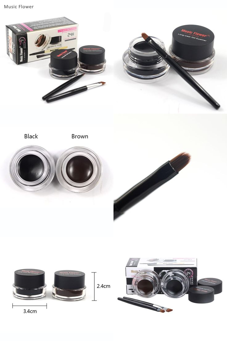 [Visit to Buy] Music Flower 2 in 1 Coffee + Black Gel Eyeliner Make Up Waterproof Eye Liner Cosmetics Set Eyeliner Pens Makeup Brushes Set #Advertisement