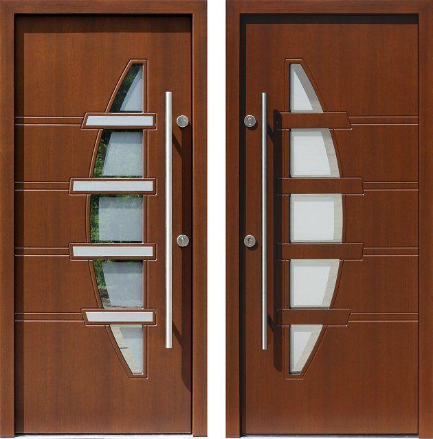 Drzwi wejściowe z aplikacjamii ze stali nierdzewnej inox wzór 443,1-443,11+ds1 orzech