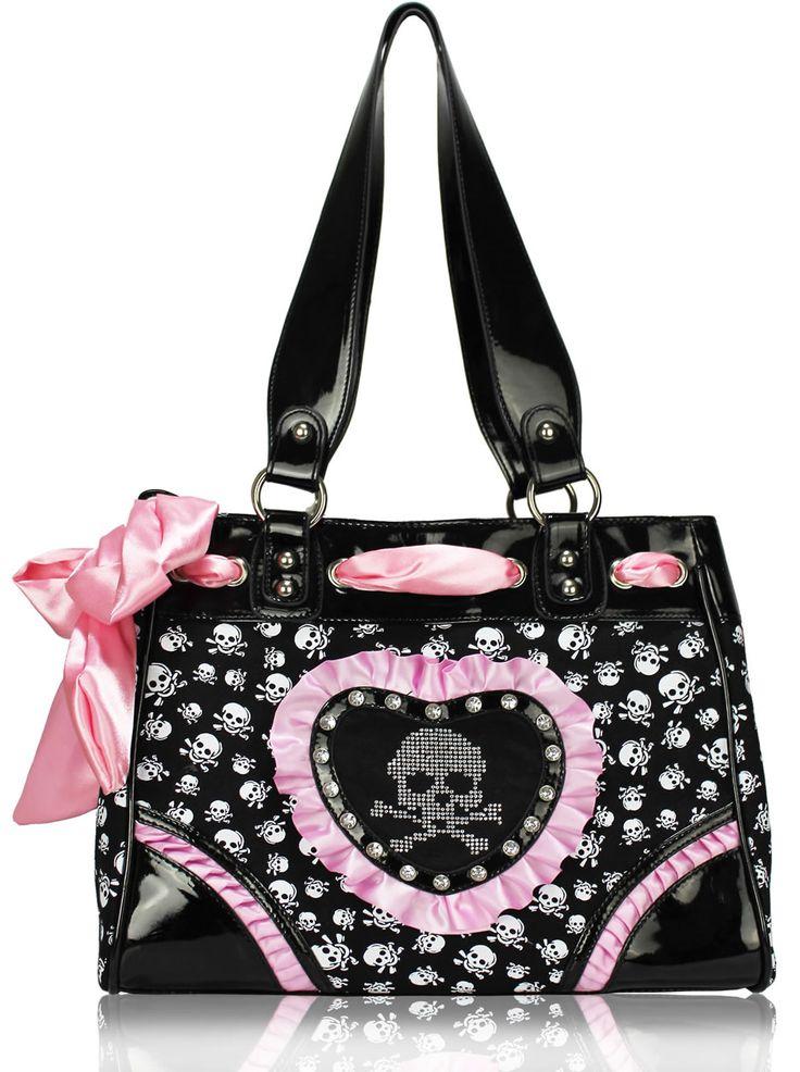Pink & black skull bag