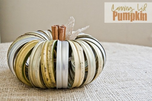 upcycled jar rings = super cute pumpkin!