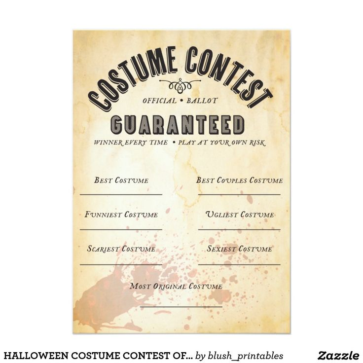 HALLOWEEN COSTUME CONTEST OFFICIAL BALLOT 5X7 PAPER