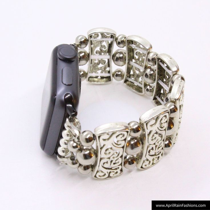All Silver 3 beads - Apple Watch Band 42 Apple iWatch Band Stretch Apple Band Beaded Watch Band Bracelet Apple Band Tech Jewelry