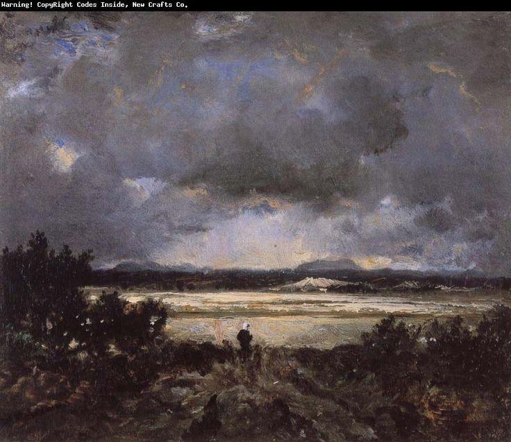 Pierre-Etienne-Theodore Rousseau - Coucher de soleil en  Auvergne 1830
