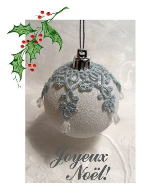 Tatted lace over christmas ornament Le Blog de Frivole: Merry Christmas! – Bette mcgarr
