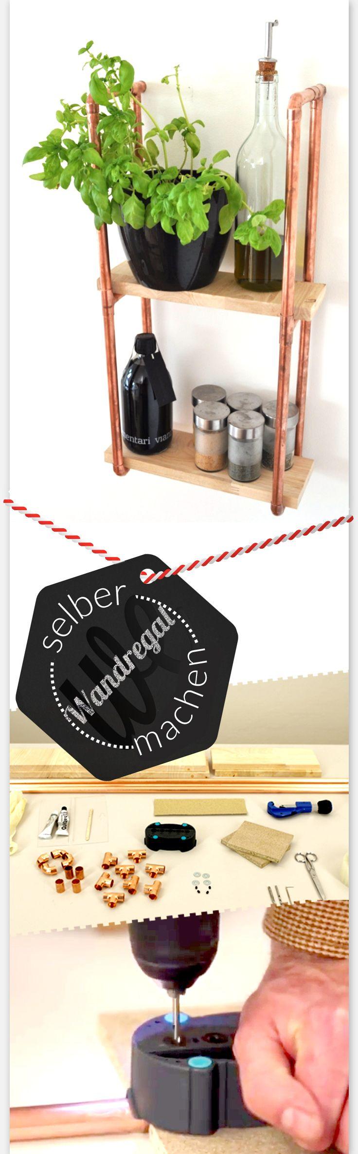 Wandregal aus Kupferrohren selber machen: Verbindungen kleben, Rohre zusammenstecken und Regal an der Wand befestigen. Das Regal ist aus dem Trendmaterial Kupfer. Und Holz, das geht immer :)
