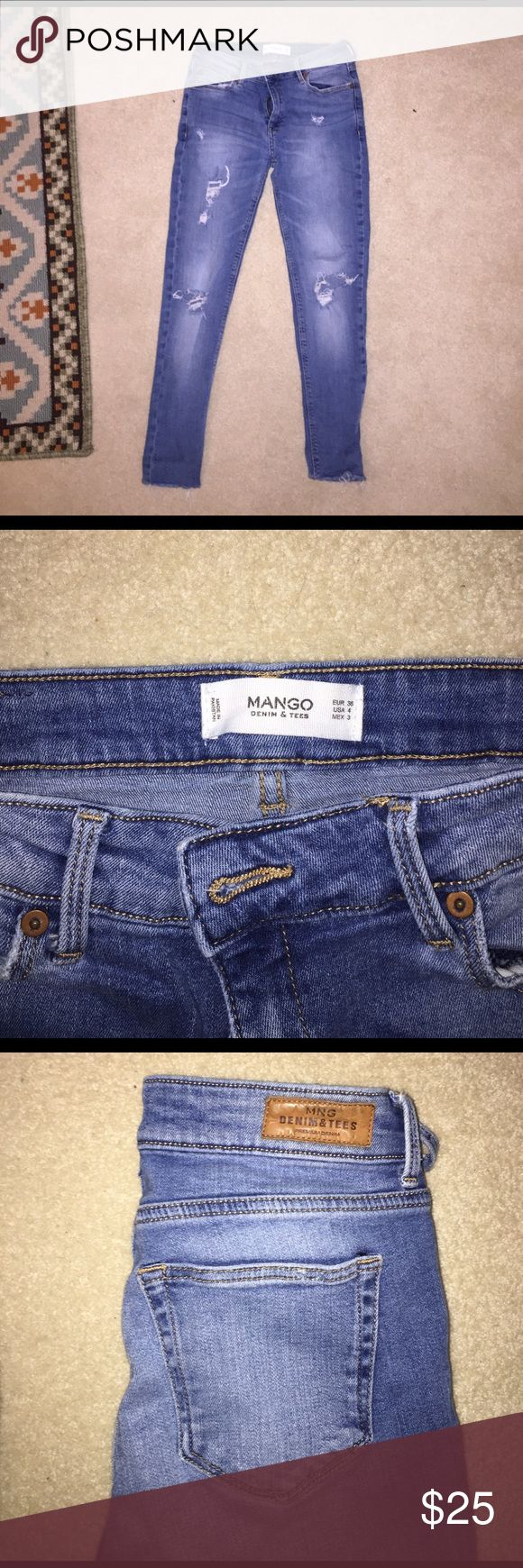 Mango ripped skinny jeans, stretchy material. Stretchy ripped cropped skinny jeans, soft material Mango Jeans Skinny