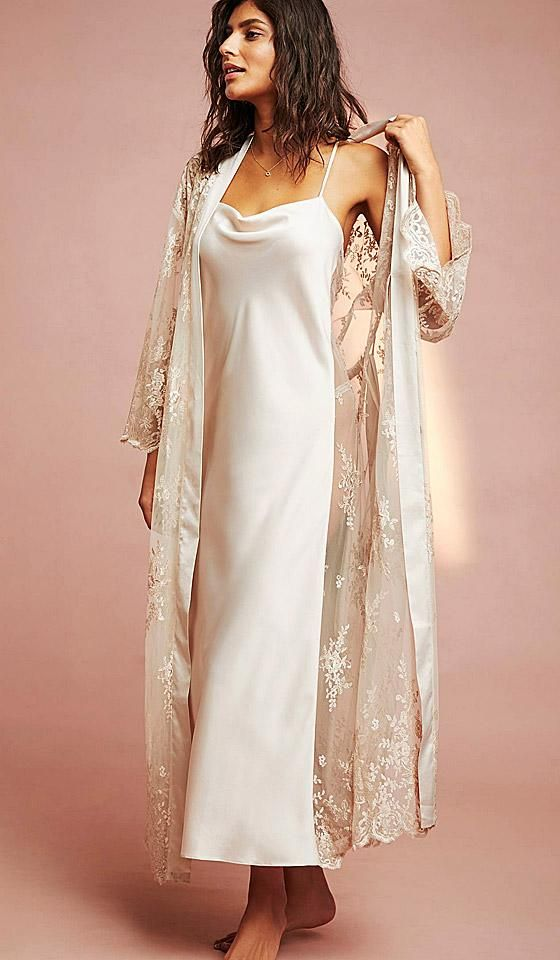 36275419c78 Darling Satin Charmeuse   Sheer Lace Nightgown (Robe available) (XS-Large)  in 2019