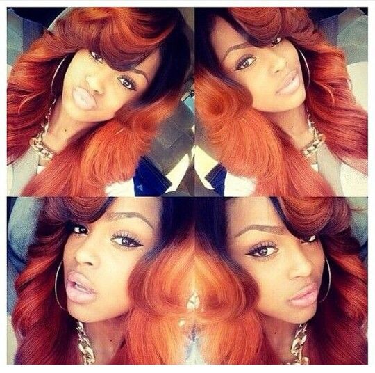Black and orange hair weave