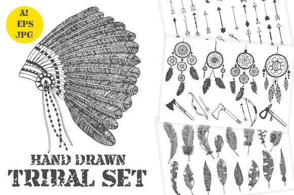 Hand drawn tribal elements set by Dina Asileva on Creative Market