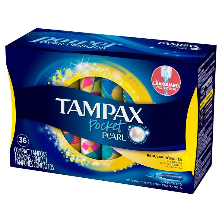 Tampax Pocket Pearl Regular Absorbency Unscented Compact Plastic Tampons - 36 Count