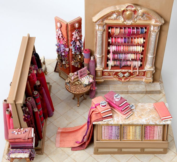 """Amazing Detail! Miniature """"The Silk Shop"""" by Polly Morris; 1/12 scale"""